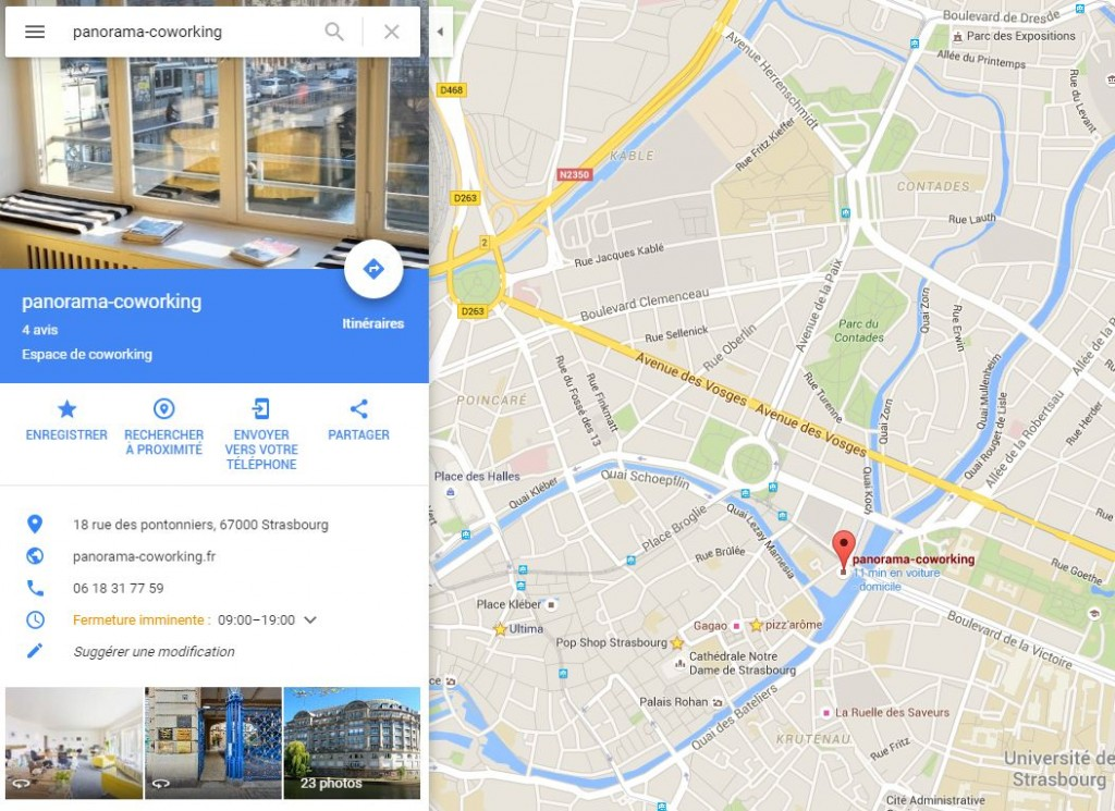 Itinéraire Google Map Panorama Co-Working Strasbourg