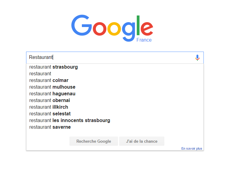 Recherche Google SEO Restaurant