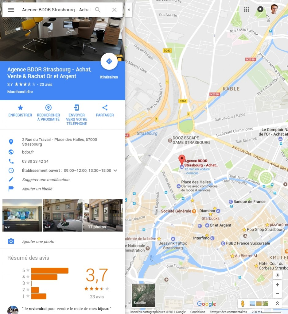 Itinéraire Google Map l'Agence BDOR Strasbourg